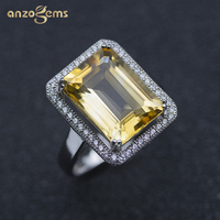 Anzogems 14*10mm natural citrine ring 925 sterling silver golden gemstone fine jewelry for women's mother's day wedding 2020 new