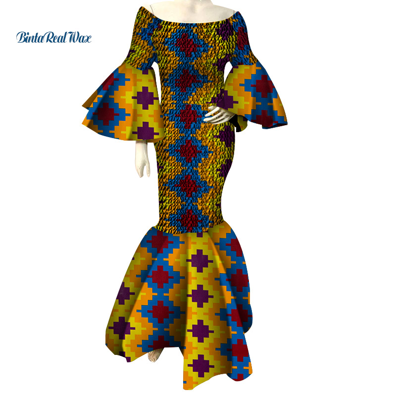 2019 African Dresses For Women Print Ruffles Sleeve Long Dresses Vestidos Bazin Riche African Ankara Dresses Clothing WY4303
