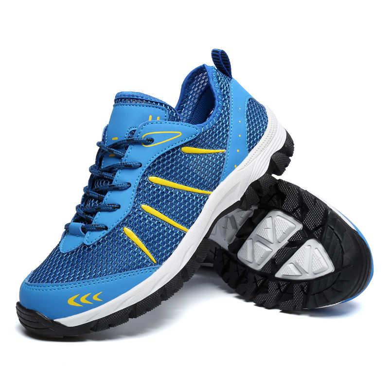Erkek spor ayakkabı nefes alan günlük ayakkabılar erkekler Mesh Lace-up rahat açık yürüyüş ayakkabı moda erkek spor ayakkabıları artı boyutu 48
