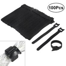 WINOMO 100pcs 6 Inch Cable Ties Fastening Cable Ties With Reusable Hook And Loop Strap Cable Ties For Organizer Fastening 20pcs reusable hook and loop fastening cable ties with microfiber cloth and 20pcs silicone bag ties cable management