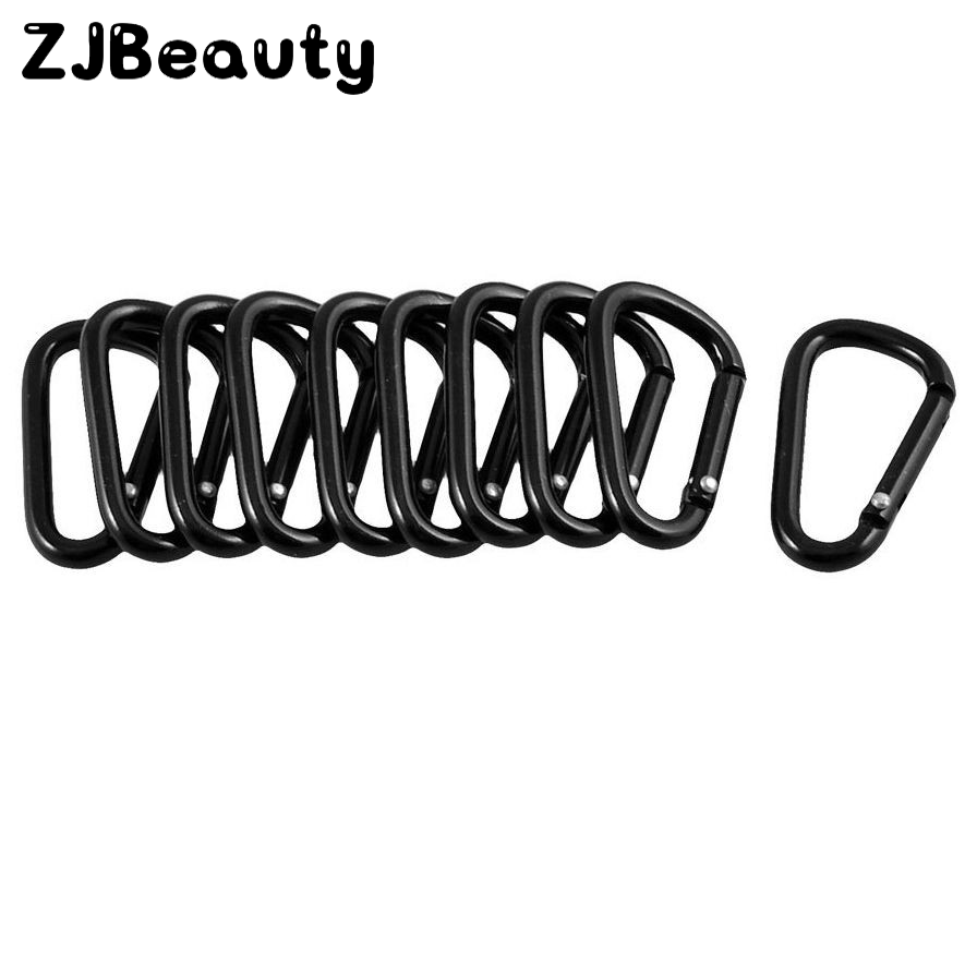 Premium 10pcs Black Outdoor Climbing Camping Hiking Aluminum Alloy D Carabiner Quickdraws Spring Snap Clip Hooks Keychain#p4