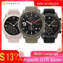 Amazfit gtr smartwatch de 42mm 47mm, smartwatch huami de versão global, à prova d água de 5atm, com gps, bateria de 24 dias e suporte para controle de música para ios e android