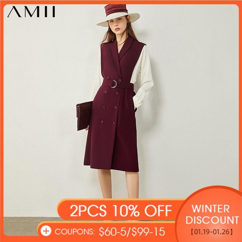 AMII Minimalismus Herbst frauen Kleid Mode Olstyle Gespleißt Revers zweireiher Kausalen Chiffon Kleid Für Frauen 12040707