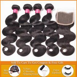 LANQI, волнистпряди с застежкой, перуанские бразильские волосы, 3, 4 пупряди с застежкой, пряди человеческих волос с застежкой