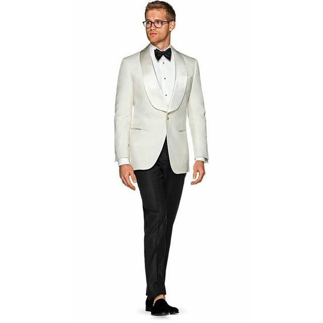 Костюм цвета слоновой кости для мужчин 2019 смокинг жениха мужские
