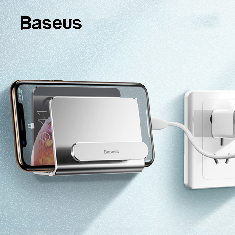 Baseus Aluminum Phone Holder For IPhone Xs Xs Max Wall-mounted Holder Adhesive Stand Mobile Phone Stand Holder For Redmi Note 7