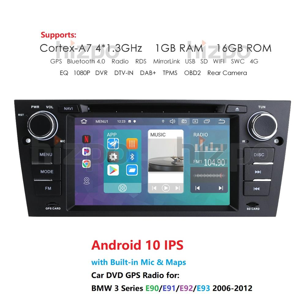 1Din Android 10.0 Car Radio DVD IPS <font><b>GPS</b></font> for BMW 3 <font><b>E90</b></font> E91 E92 E93 2006-2012 Stereo Auto RDS USB WIFI 4G SWC 7