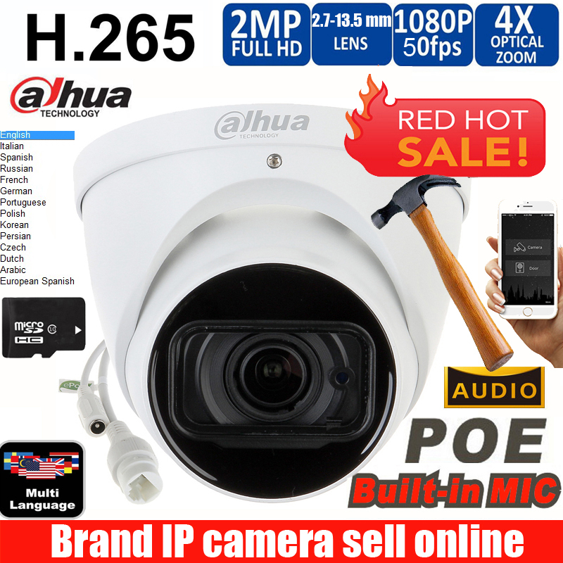Dahua mutil language IPC-HDW5231R-ZE 2MP WDR IR Eyeball Network Camera 2.7mm-13.5mm lens Starlight Network Camera with micphone