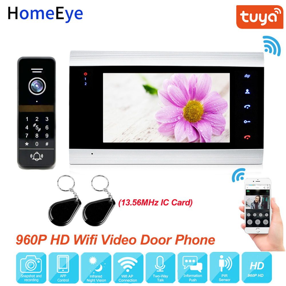 Tuya App Remote Control WiFi IP Video Door Phone Video Intercom 960P Home Access Control System Keypad+IC Card Motion Detection