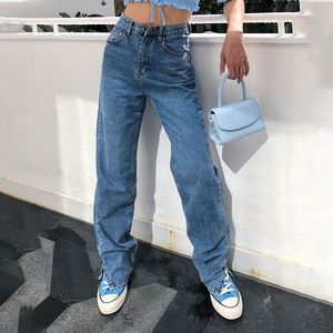 Boyfriend Fit Baggy Jeans Women High Waist Split Foot Cargo Pants Washed Classic Long Straight Leg Jean 2020 New