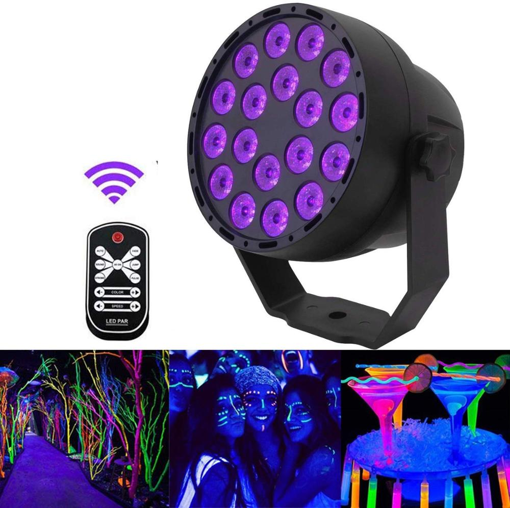 DMX512 Disco UV Par Light 18 LEDs Ultraviolet Stage Lighting Effect Lights Sound Activated DJ Spotlight For Glow Party KTV Club