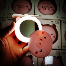 Portable beauty mirror small fan USB charging mini handheld LED fill light makeup mirror beauty tool makeup mirror