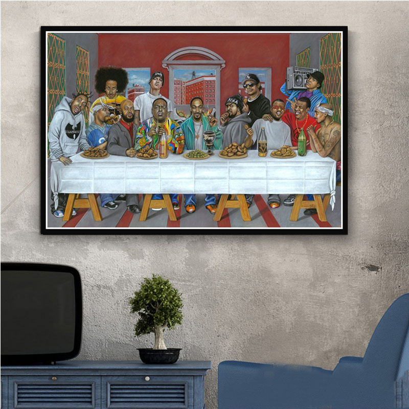 Poster And Prints Hip Hop Music Rapper Star Legend The Last Supper Art Painting Canvas Wall Pictures For Living Room Home Decor