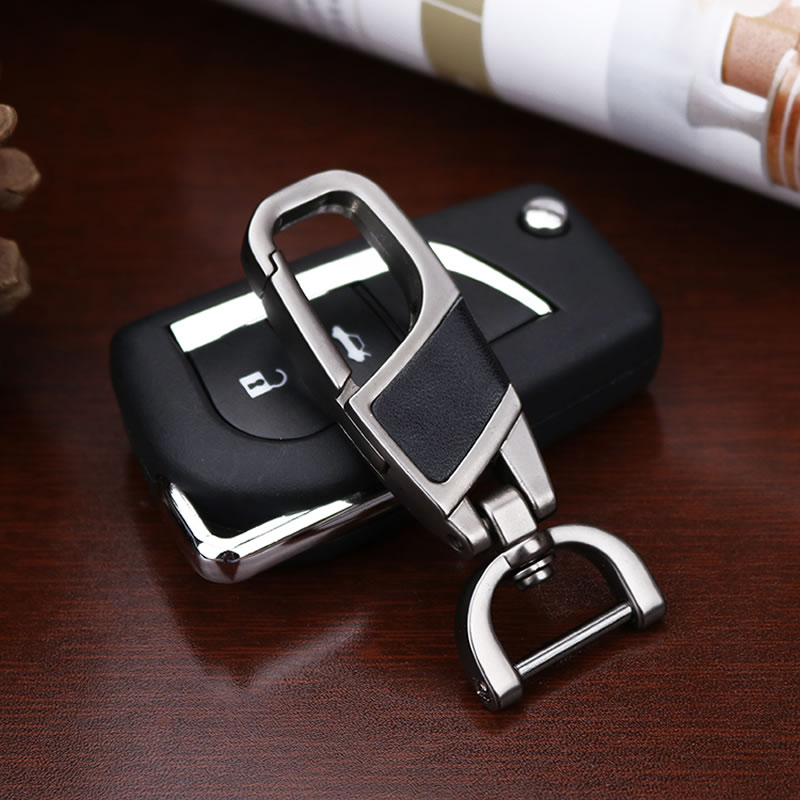 Luxury Metal Car Key Ring Chain Holder Leather Keyring Keychain For Toyota Audi Bmw Citroen Buick Mercedes Benz Cadillac Dodge image