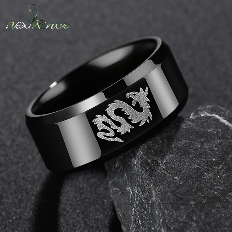 Nextvance Stainless Steel Classic Style Black Ring Chinese Dragon And Wolf Head Ring Boy Boyfriend Women Gift Dropshipping