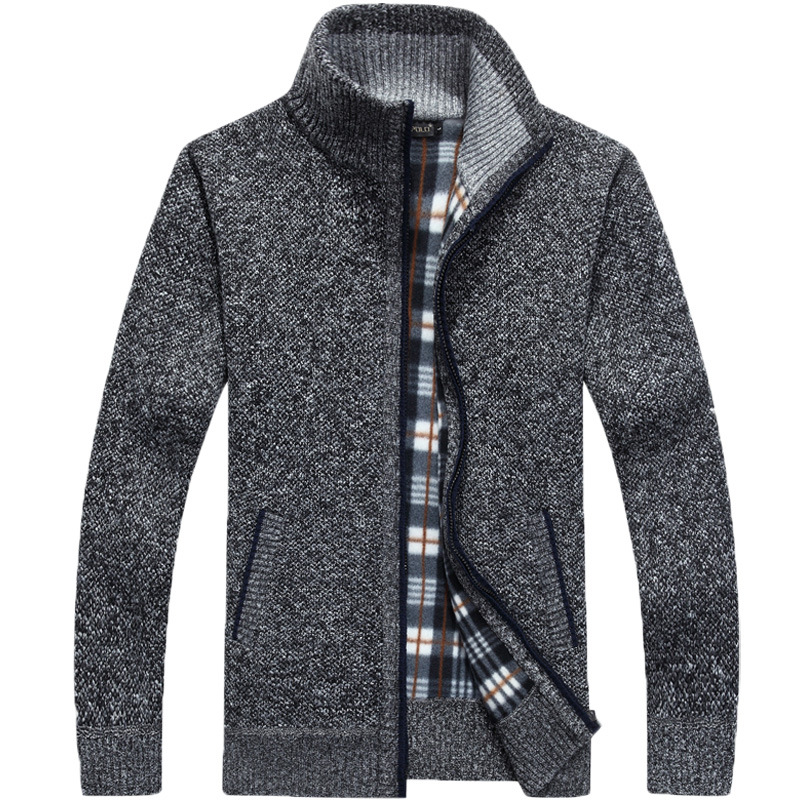 Janisramone New Mens Argyle Diamond Print Grandad Sweater Zipper Front Pocket Warm Cardigan
