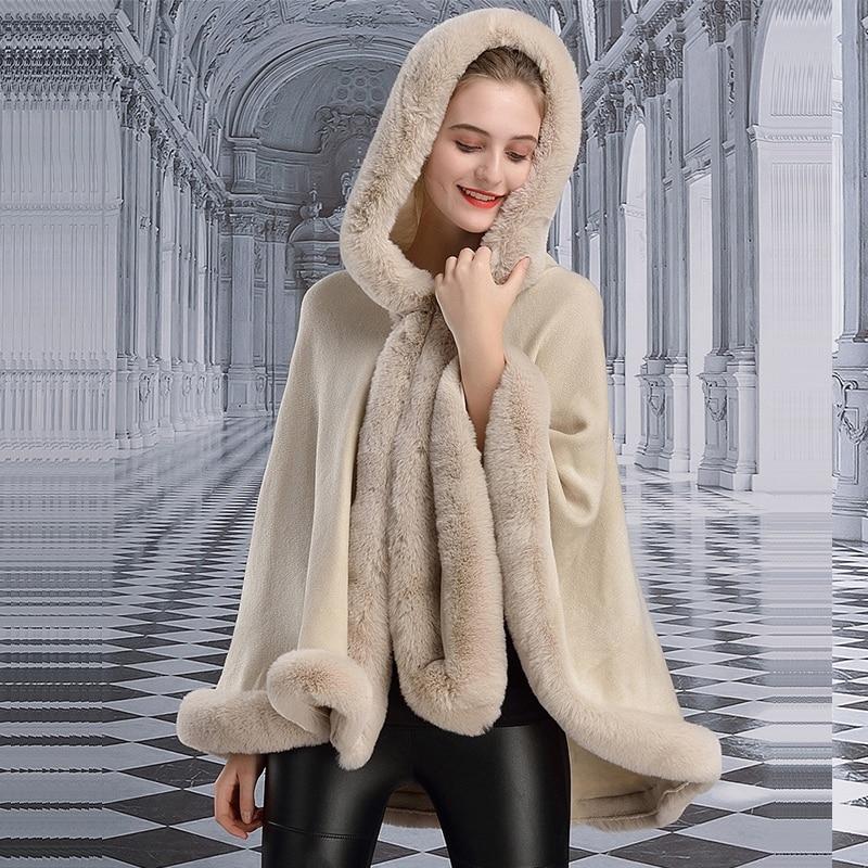 Fashion Loose Soft Faux Rex Rabbit Fur Poncho Shawl Hooded Outwear Women Cashmere Cardigan Cape Winter New Retail Wholesale