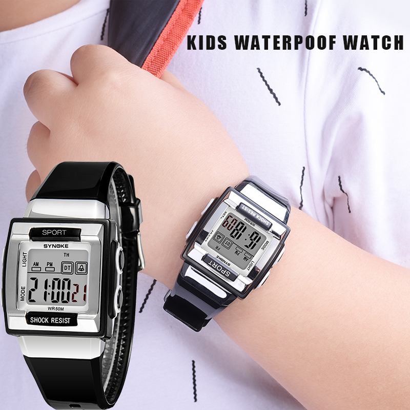 SYNOKE Children Unique Sport Watch Luminous Waterproof Outdoor Automatic Electronic Watch For Students Gift