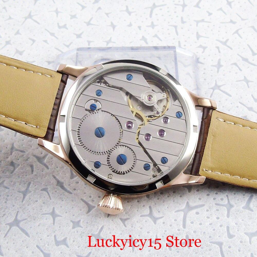 Luxo clássico vestido 44mm rosa ouro mecânico 6498 mão enrolamento relógio masculino estéril dial pulseira de couro - 5