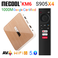 MECOOL KM6 Deluxe Wifi 6 certificado por Google TV Box Android 10,0 4GB 64GB Amlogic S905X4 1000M LAN BT 5 0 receptor inteligente