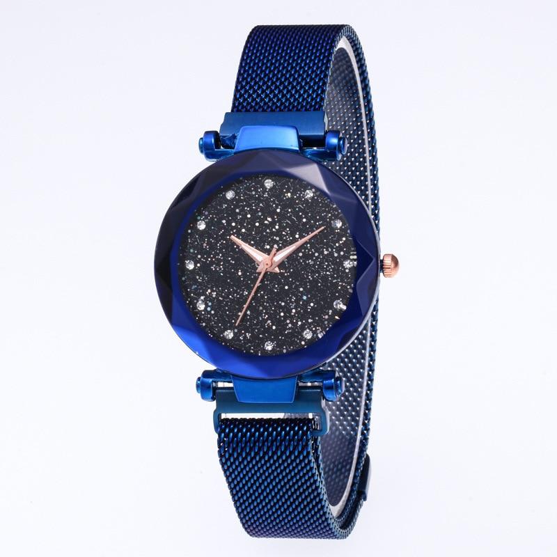 12 Color Starry Sky Watch Women Fashion Casual Magnet Stone Ladies Watch Magnet Milan Strap Female Luxury Brand Quartz Watch