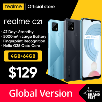 Global Version realme C21 Smartphone Helio G35 Octa Core 64GB 6.5 1