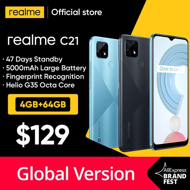 "[World Premiere In Stock] Global Version realme C21 Smartphone Helio G35 Octa Core 64GB 6.5""display 5000mAh battery 3-Card Slot 1"