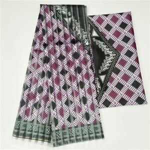 Image 1 - 2019 Hot Selling Imitated Silk African Print Fabric Organza And Ribbon For Garment Material Fabric ! F8101