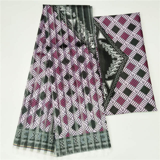 2019 Hot Selling Imitated Silk African Print Fabric Organza And Ribbon For Garment Material Fabric ! F8101
