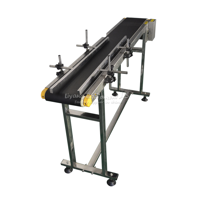 120W Adjustable Double Buffles Stainless Steel Box Bag Bottle Conveyor Belt Sticker 0-30M/min 1500mm Length 200mm Width