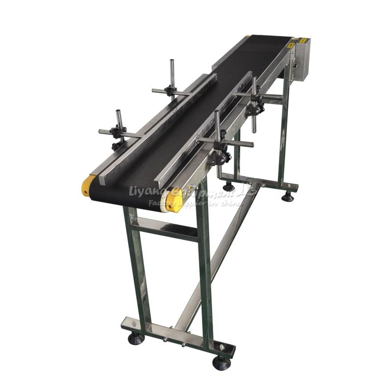 120W Adjustable Double Buffles Stainless Steel Box Bag Bottle Conveyor Belt Sticker 0-30M/min 1500mm Length 200mm Width