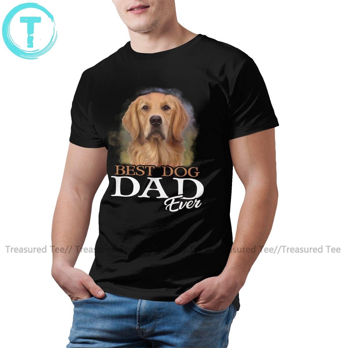 Golden Retriever Dog T Shirt Mens Best Dog Dad Ever Golden Retriever T-Shirt Streetwear Print Tee Shirt Cotton Tshirt