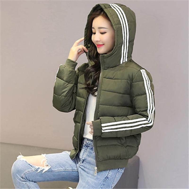 Jacket   Coat Women Quilted Coat Stripe Plus Size Winter Short Parkas Slim Solid Hooded   Basic     Jacket   7 Colours Windbreaker Street