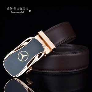 Image 3 - men belt luxury belts for men car logo Casual beltFull leather Famous brand new designer male automatic buckle cow leather