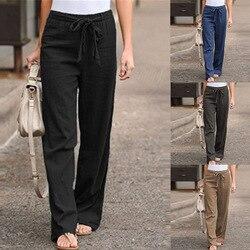 2020 Summer Women's Casual Sweatpants Elastic Waist Solid Color Cotton and Linen Wide Leg Pants Lace-up Loose Trousers Women