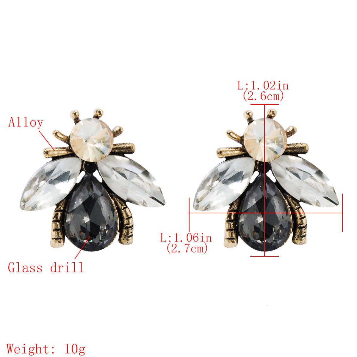 Jouval Kecil Cute Kristal Bee Serangga Stud Anting-Anting untuk Wanita Punk Vintage Pernikahan Anting-Anting Fashion Wanita Brinco Gadis Telinga Perhiasan