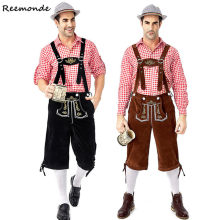 Duitse Oktoberfest Kostuums Mannen Traditionele Beierse Bier Mannelijke Cosplay Halloween Octoberfest Shirt Broek Outfit Festival Party(China)