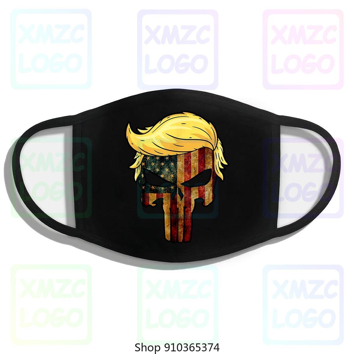 Crânio preto com icônico trump cabelo presidente bandeira américa máscara 100 algodão bandana lenço máscara feminino