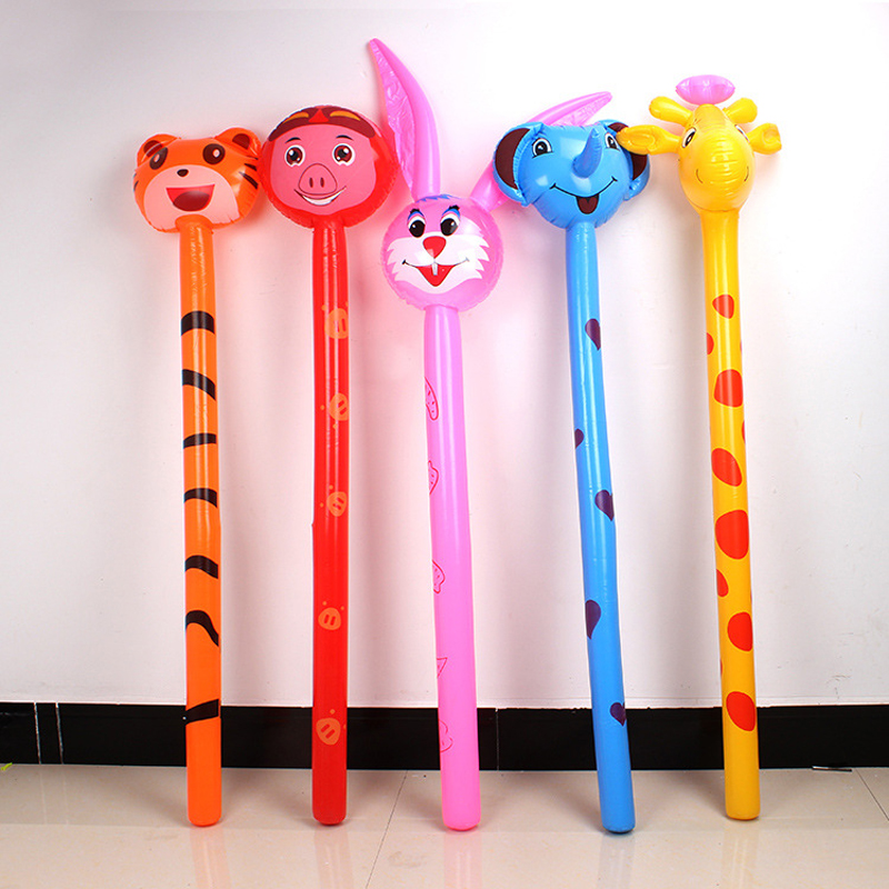 Long Cartoon Random Animal Balloon Inflatable Animal Hammer No Wounding Weapon Stick Balloon Toys For Children Gift Decoration