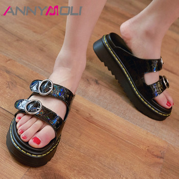 ANNYMOLI Woman Slippers Flat Platform Shoes Natural Genuine Leather Slides Casual Buckle Female Summer Sandals Black White 34-39