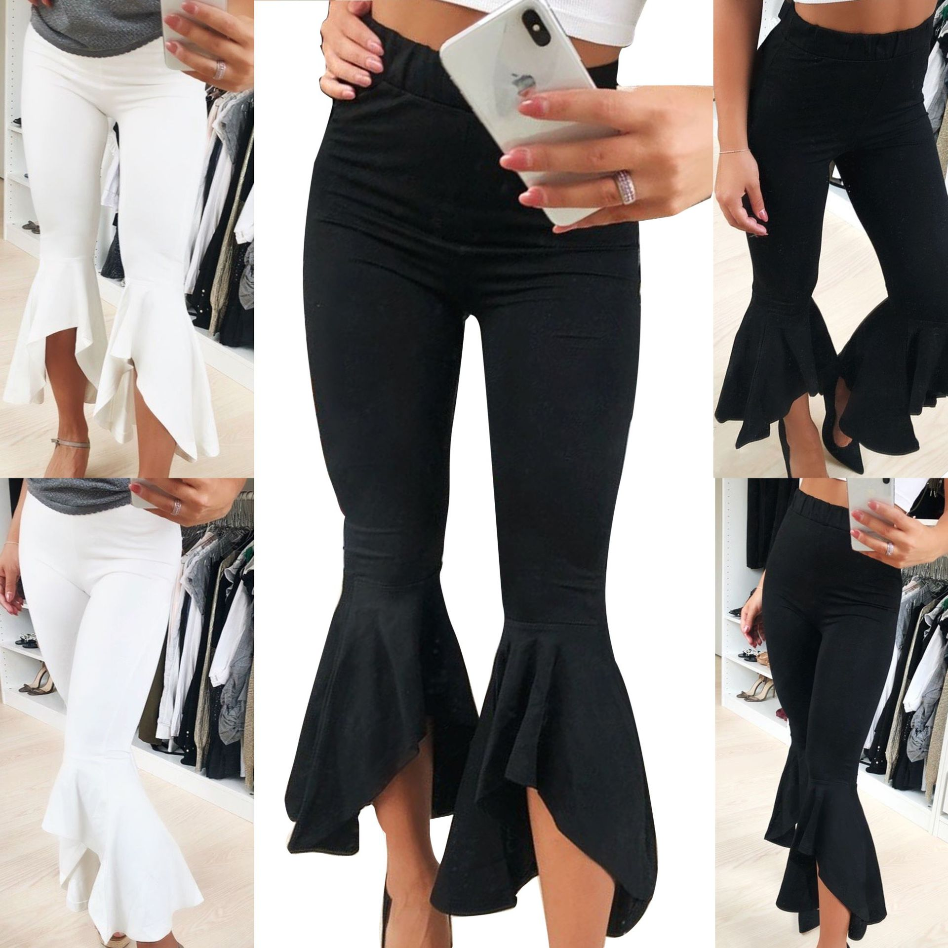 Women Black White Sexy Pants Ruffle Wide Leg Fit Casual Pants Women Pants Joggers Flare Pants Trousers Women