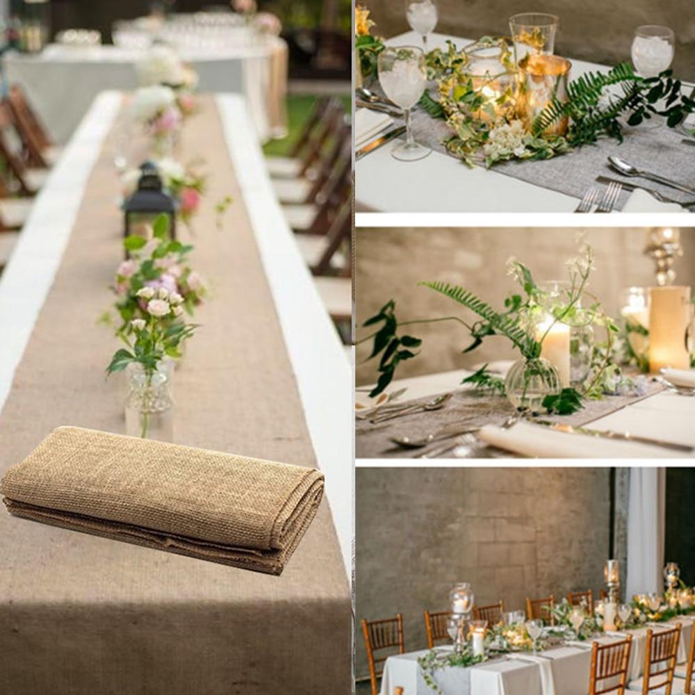 Ev ve Bahçe'ten Şık Masa Örtüleri'de Çuval bezi masa koşucu jüt taklit keten masa örtüsü rustik düğün parti ziyafet dekorasyon ev tekstili kaplama camino de mesa title=