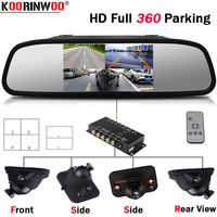 Koorinwoo Full kit control Split For 4 Channel Video System Car Switch Box Left Right Side Front Rear view Camera Monitor Mirror