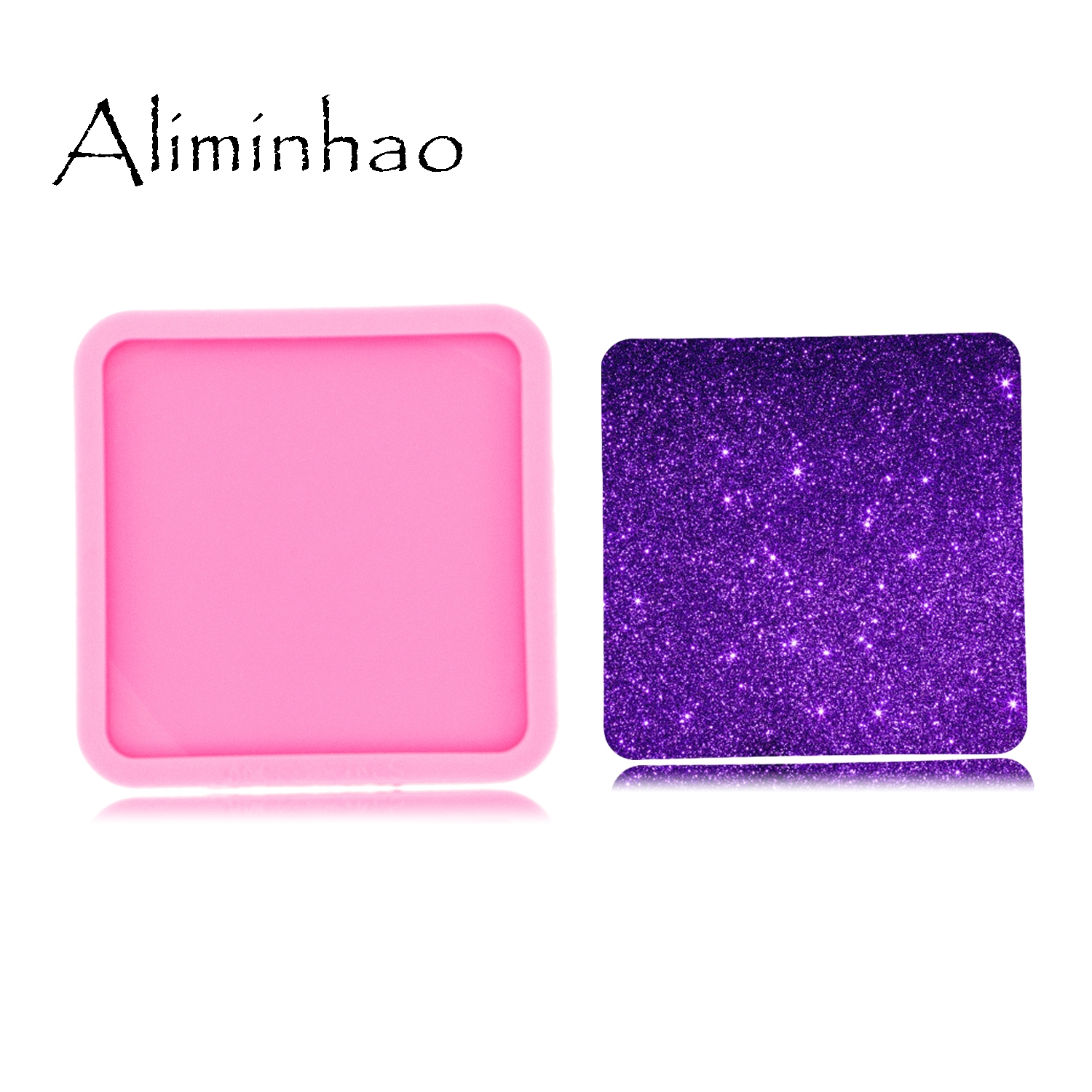 DY0272 Shiny High Quality 8cm=3.14inch Square Shape Silicone Tray Molds Epoxy Resin DIY Geode Coaster Agate Resin Mold