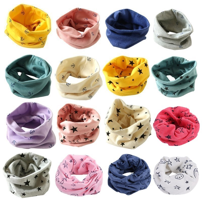 2019 Cartoon Children Boys Girls Baby Wool Ring Scarf Cotton O Ring Printed Scarf LIC Neck Scarves Shawl Warm Winter Neckerchief