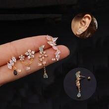 1pc coreano aço inoxidável cartilagem concha falso piercing jóias brincos de gota de flor cz orelha manguito sem piercing manguito brinco
