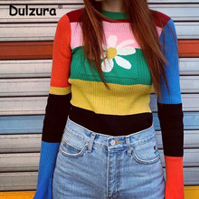 Vintage Rainbow Striped Fitness Sweaters Women Harajuku Girls Flare Sleeve Jumper Femme(China)
