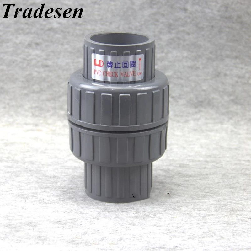 1pcs 32-63mm Inner Diameter PVC One Way Non Return Check Valve Pipe Fitting For Garden Irrigation Aquarium Fish Tank