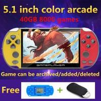 JXD new 5.1inch colored retro game console 40GB 8000 game for cps/neogeo/gba/gbc/gb/snes/nes/sega video game console MP3 recoder