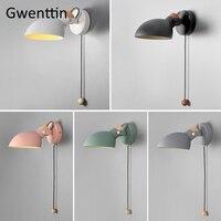 Macaron nórdico moderno conduziu a lâmpada de parede madeira maciça casa sala estar quarto leitura lâmpada cabeceira rotativa arandela luminárias